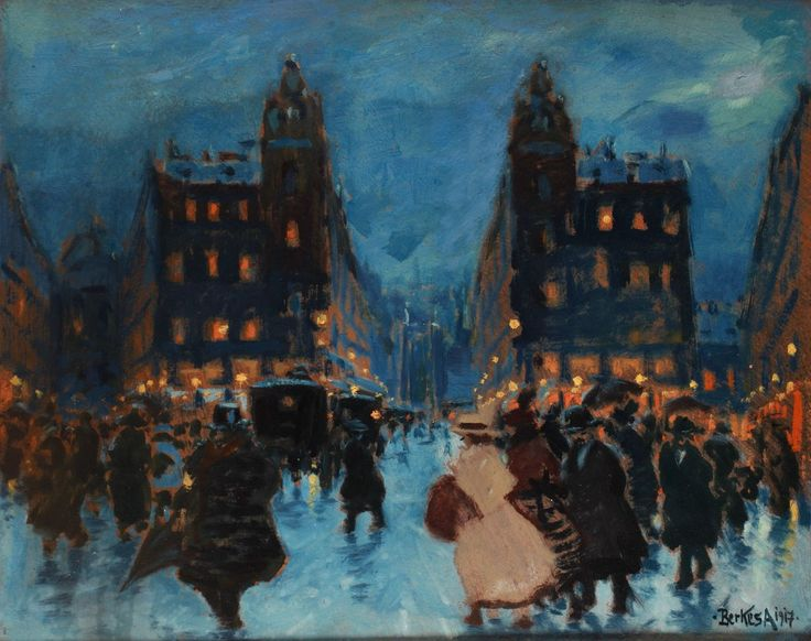 Clotilde Palace at Night - Antal Berkes Hungarian painter 1874-1938