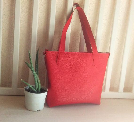 Red Tote Bag for Women, Leather Tote Bag, Tote Shopper Bag, Work bag for Women