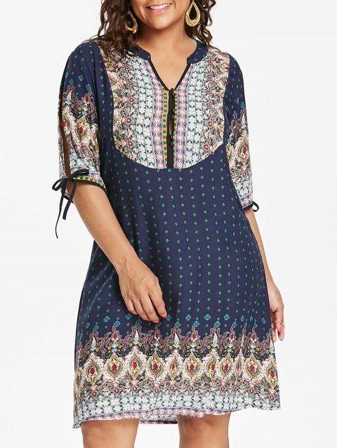 b0373653fce Plus Size Baroque V Neck Dress - NAVY BLUE 2X