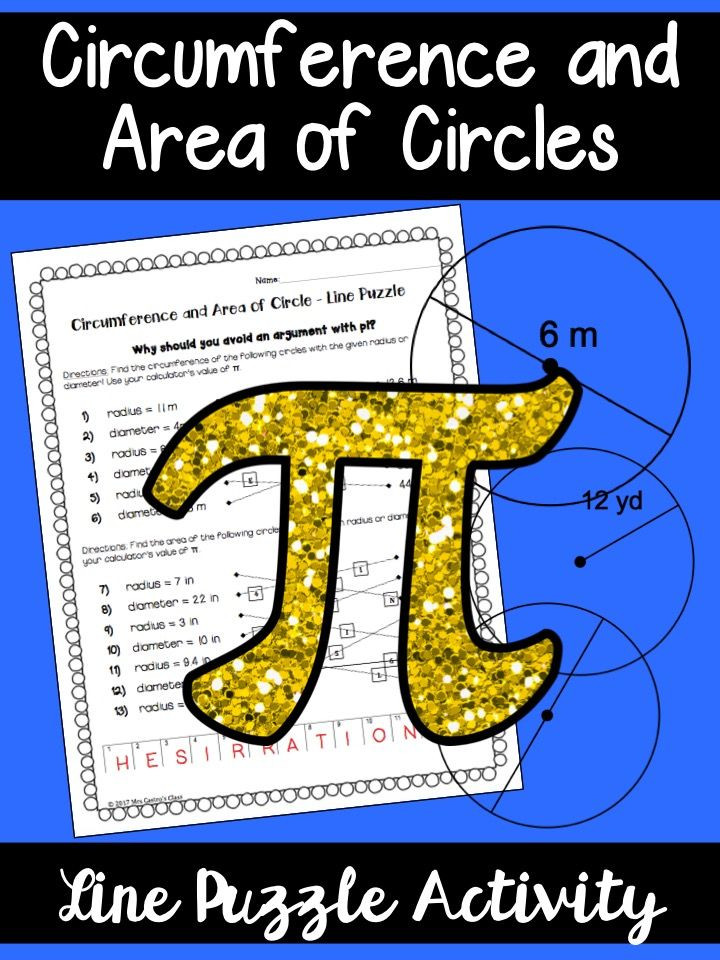 Pi Day Activity for Algebra, Geometry, or middle school students. Circumference and area of circles for pi day.