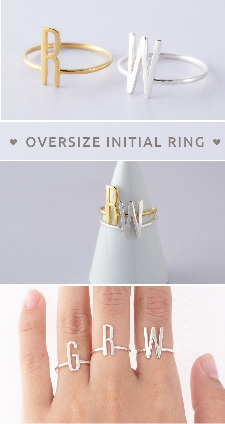 Oversize Initial Ring • Initial Ring • Ring With Oversize KW Initial • Silver Initial Ring • Rose gold ring with initials • initial jewelry • jewelry with initials • Personalized initial ring • Dainty gold ring • Minimalist jewelry • simple jewelry • christmas gifts for kids • cool christmas gifts for dad • christmas gifts for boyfriend • christmas presents for kids • best friend gift ideas • unique birthday gifts for girls