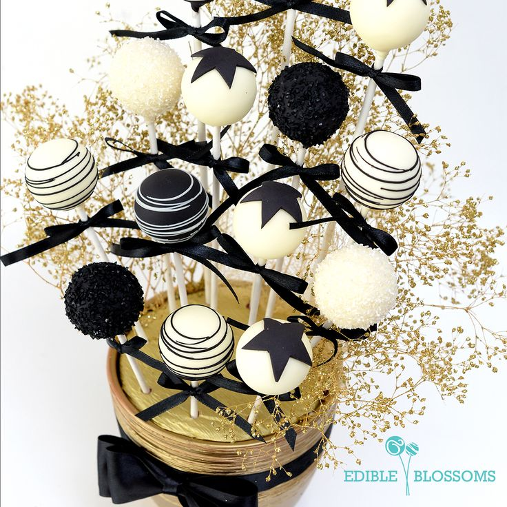 Rockstar | Feel like a star with this white, black and gold cake pop arrangement reminiscent of old school Hollywood glamour