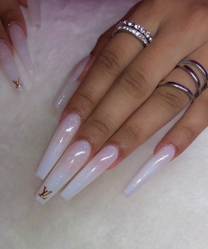 Coffin Nails Extra Long Glitter Tips