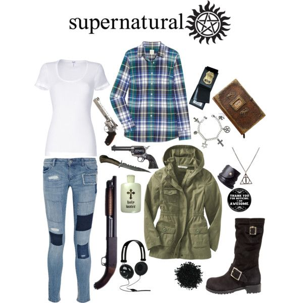 One of these things just doesn't belong, one of these things just isn't the same...  Why is there a deathly hallows necklace in the supernatural outfit??