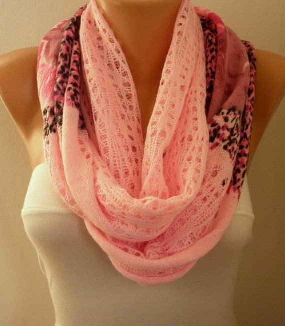 ON SALE - Pink Infinity Scarf Shawl Circle Scarf Loop Scarf Fabric Knitted Lace Scarf Gift -fatwoman