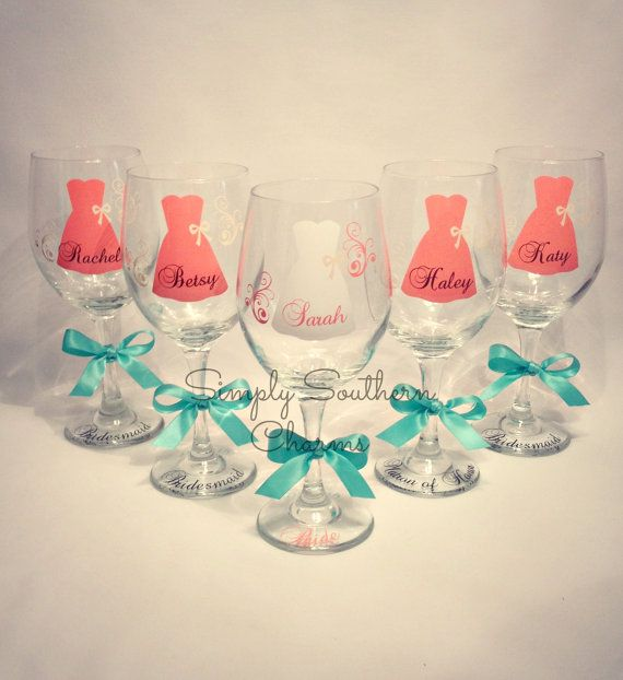 9 Personalized Bride and Bridesmaid Wine Glasses, Wedding Party Glasses on Etsy, $108.00