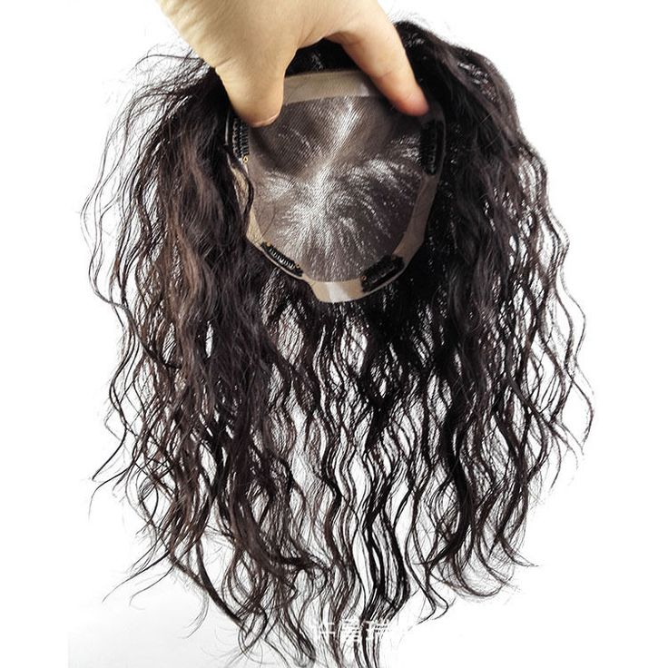 8''~20'' Large Base Curly Human Hair Toupee Hairpiece Top Replacement Women #Unbranded