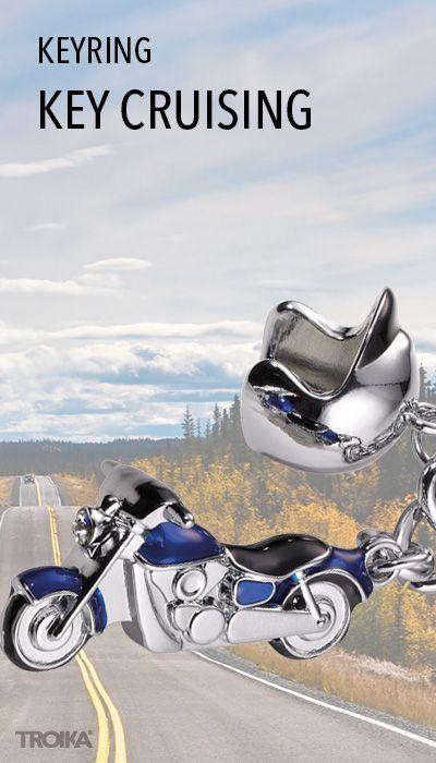 TROIKA KEY CRUISING. Keyring with 2 charms: motorcycle and helmet, cast metal, blue/shiny chrome plated, MADE WITH SWAROVSKI® ELEMENTS. Feel free! Freedom on 2 wheels. Bikers can really show how they put their foot down. *** Schlüsselanhänger mit 2 Anhängern: Motorrad und Helm, Metallguss, blau/glänzend verchromt, MADE WITH SWAROVSKI® ELEMENTS. Freiheit auf 2 Rädern. Mit KEY CRUISING zeigen Motorradfahrer, wie Sie Vollgas geben.