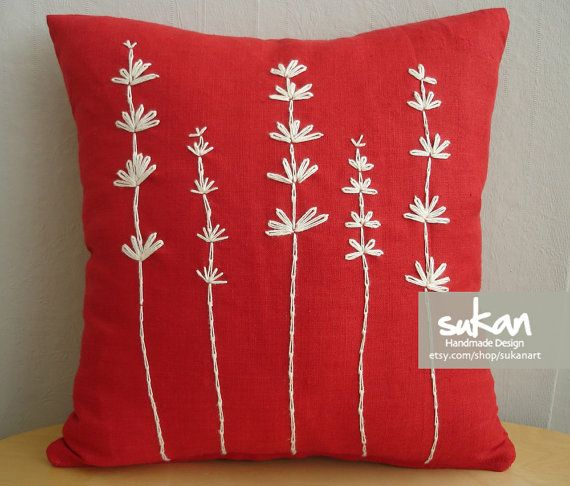 embroidered pillow - made of linen & sewing rope