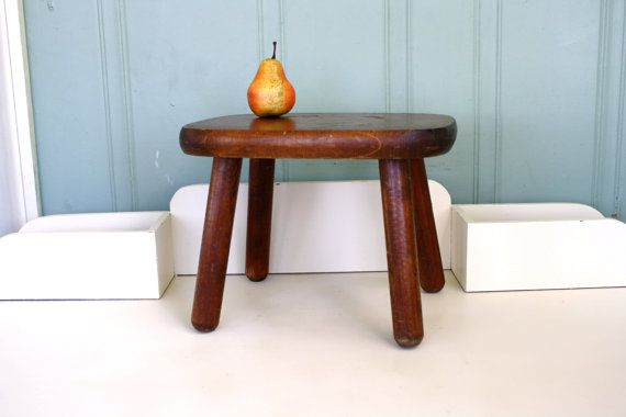 Wood Foot Stool Milking Stool Rustic by MaxandMaddieVintage