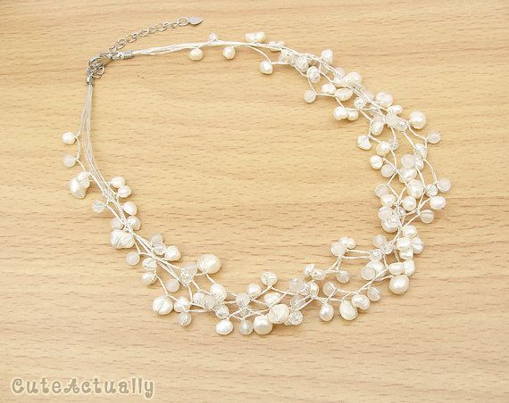 White freshwater pearl necklace with stone and by CuteActually