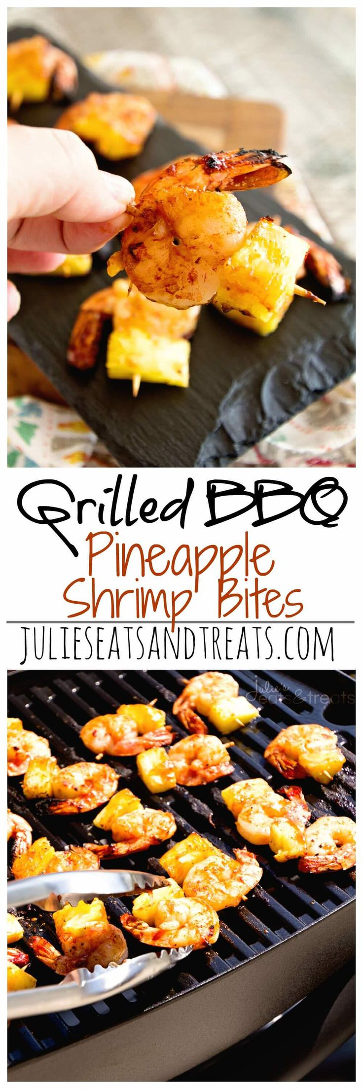 Grilled BBQ Pineapple Shrimp Bites ~ Delicious, Grilled Pineapple and Shrimp Bites Seasoned with BBQ Seasoning and Sauce then Grilled to Perfection! ~ https://www.julieseatsandtreats.com