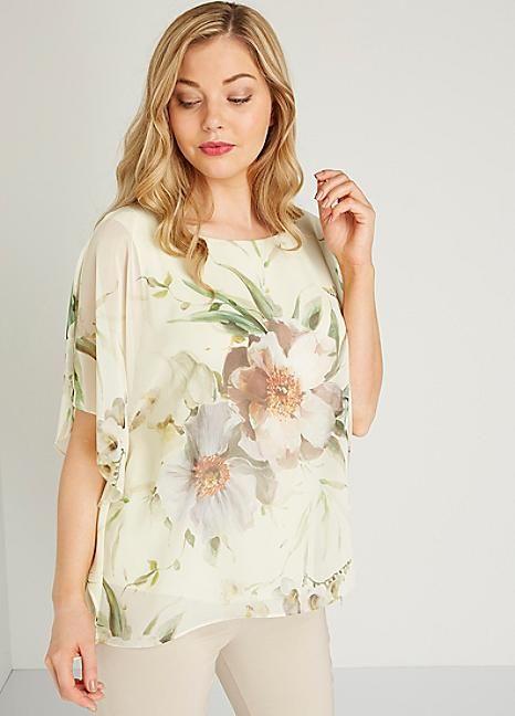 Roman Originals Floral Chiffon Overlayer Top #Kaleidoscope #Fashion #Wedding #Weddingwear #Style #Cream #Floral