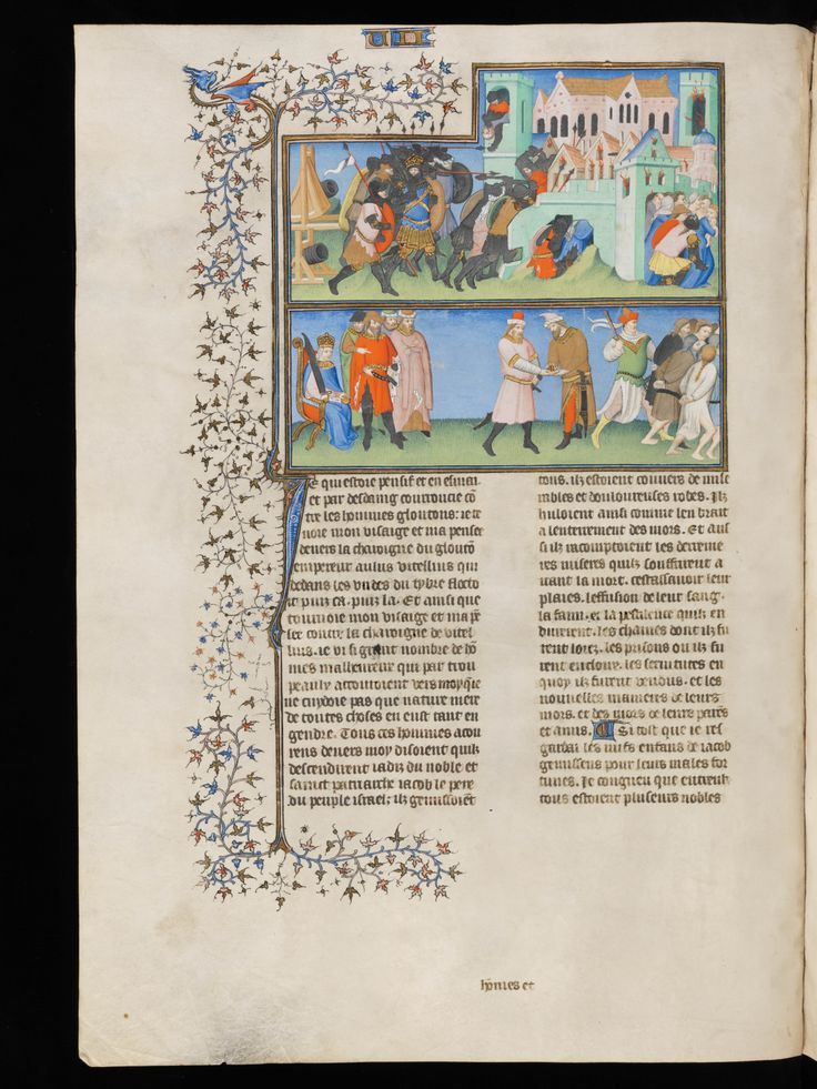 Capture of Jerusalem by the Roman army, under Imperator Titus Caesar divi Vespasiani filius Vespasianus Augustussat in the year 69 AD on his throne watching the people of Israel took captive or paying tribute. Des cas des nobles hommes et femmes.  Paris, France 1410. Bibliothèque de Genève, BGE Ms. fr. 190/2, Folio 96v