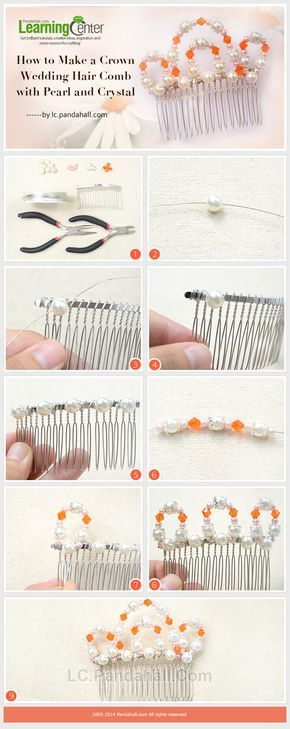 How to Make a Crown Wedding Hair Comb with Pearl and Crystal