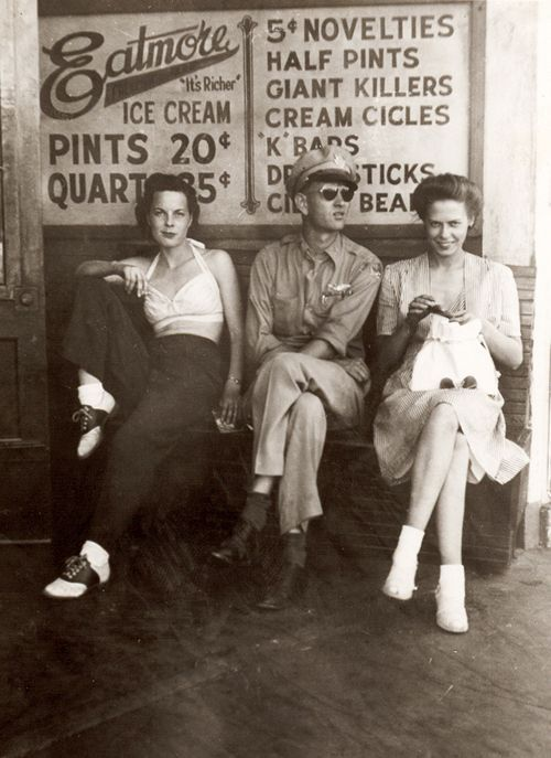 On a bench in 40s Yakima, Washington - Imgur | New life ambition to own the outfit of the girl on the left.