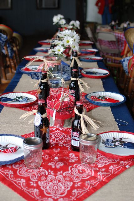 Cowboy party table setting.