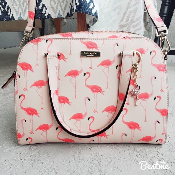 kate spade flamingo printed small felix w/charm kate spade flamingo printed…