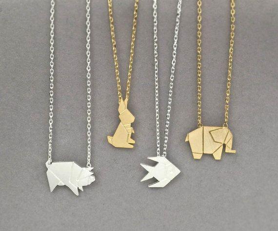Origami Tier Collier, Halskette wildes Schwein, Elefant Halskette, Halskette Kaninchen, Fisch Halskette