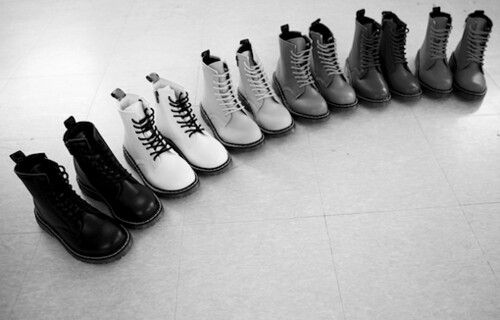 A monochrome collection of Doc Martens looks perfect