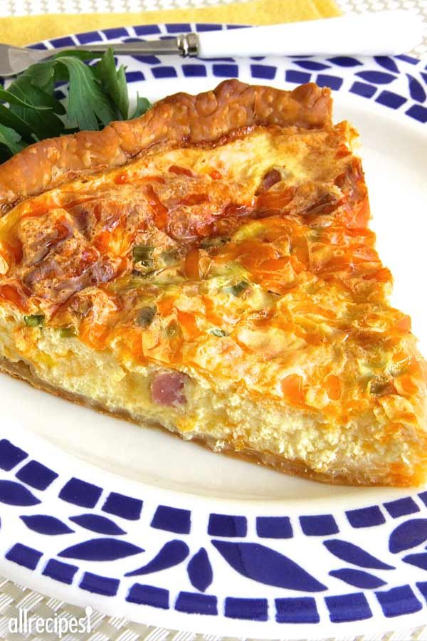 """Creamy Ham and Cheese Quiche 
