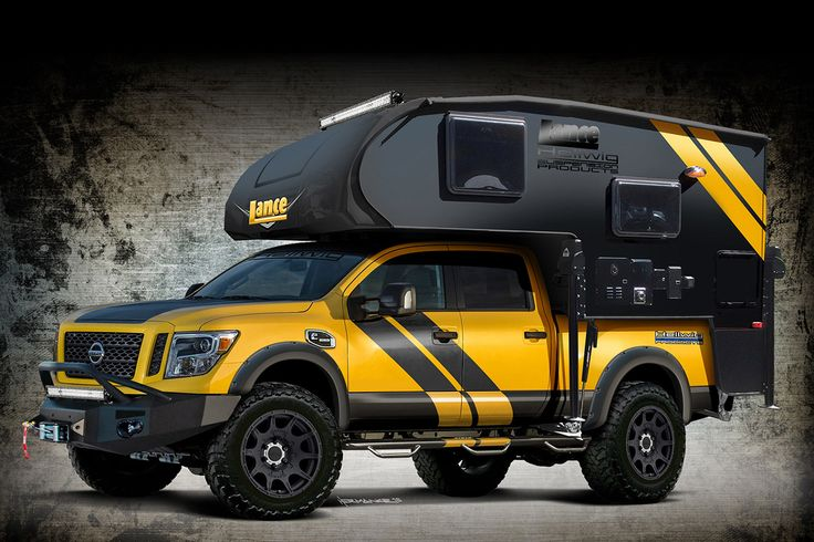 """Hellwig Titan XD Rule Breaker Overland Rig - Dubbed the 'Rule Breaker,' this pickup was modified to be the ultimate overlander camper truck. The base vehicle is a 2016 Nissan Titan XD, equipped with a Cummins diesel engine. It's also loaded with a custom-built Lance 650 camper. To account for the extra weight, Hellwig has installed their EZ-990 two-leaf helper springs and their """"Big Wig"""" 2,800 lb. Air Springs."""
