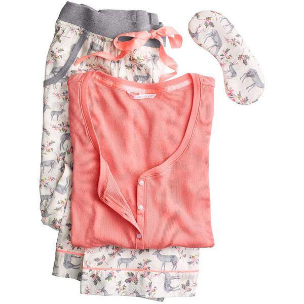 The Dreamer Henley Pajama ($55) ❤ liked on Polyvore featuring intimates, sleepwear, pajamas, victoria secret sleepwear, victoria secret pjs, victoria's secret and victoria secret pajamas