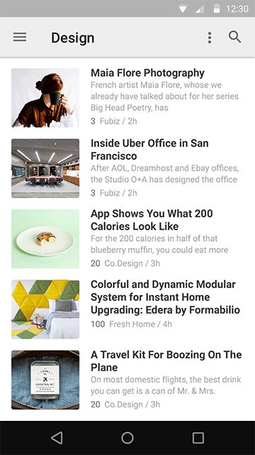 First implementation of Material Design by feedly — feedly, behind the curtain — Medium
