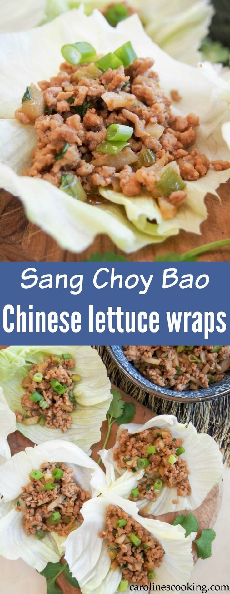 Whether you're looking for food to celebrate Chinese New Year, or just an easy low carb appetizer, these Chinese lettuce wraps are a delicious choice. (Plus the filling is great for meal prep!) #Chinesefood #appetizer #lowcarb #glutenfree #mealprep