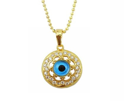 18 karaat verguld goud ketting met boze oog ingezet met zirkonen.    Boze oog is een amulet dat bescherming biedt tegen het kwaad.  www.goudkat.com