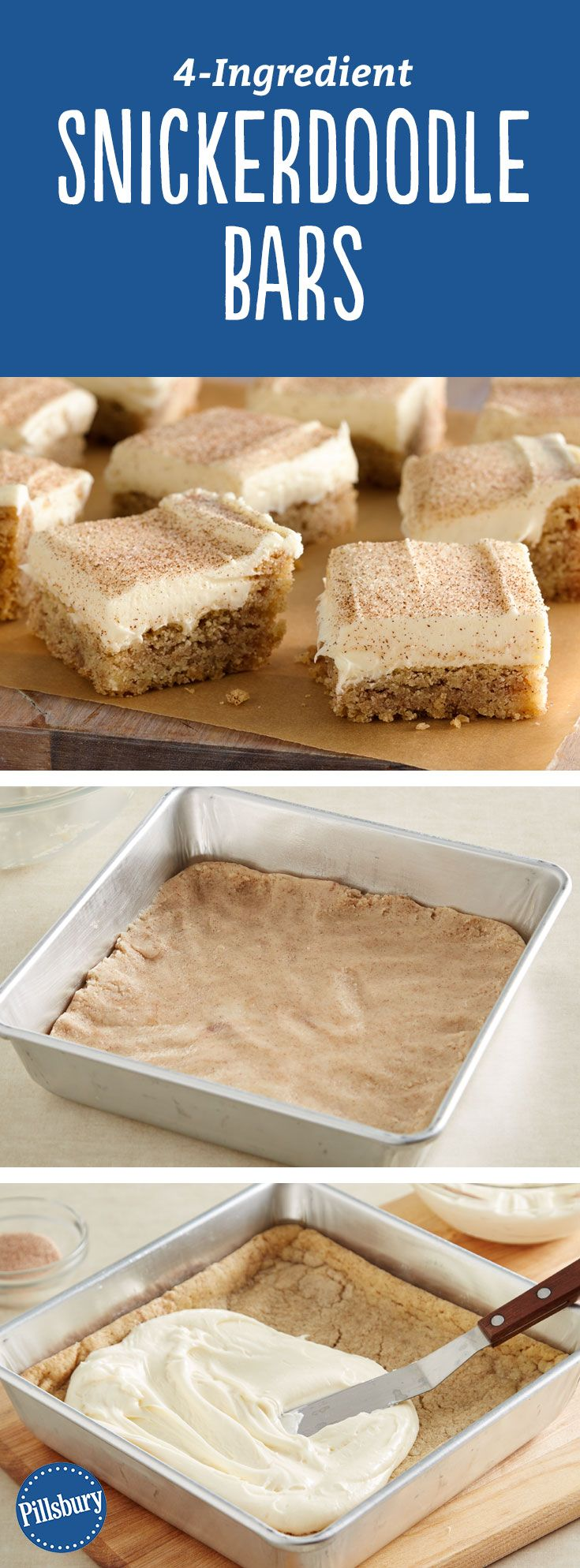 4-Ingredient Snickerdoodle Bars: These 4-ingredient snickerdoodle bars made with sugar cookie dough will become a favorite for any time of the year.