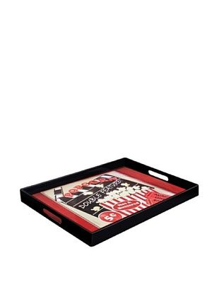 Accents by Jay Popcorn Double Feature Rectangular Tray with Handles, Red