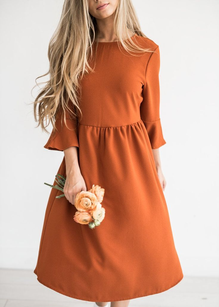 Bell Sleeve Dress in Amber – #Amber #Bell #Dress #Sleeve