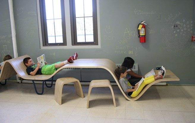 fun and interesting use of furniture for areas that are slim in width but expansive in distance. Children are attracted to the design due to it's unique capabilities and reading positions that it provides.
