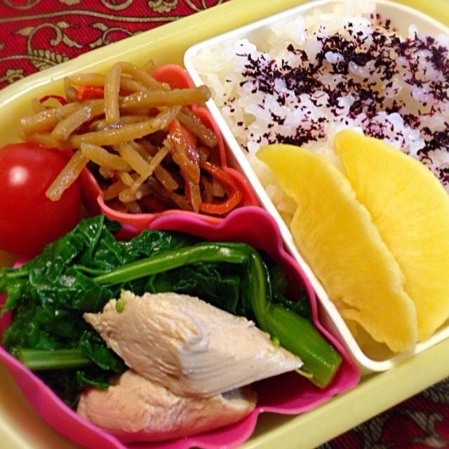 おはようございます(^-^)/ 菜の花の辛子和えは3日目で味がしみて美味しくなってます(笑) - 12件のもぐもぐ - 鶏ささみと菜の花の辛子和え(3日目w)弁当 by moeyun