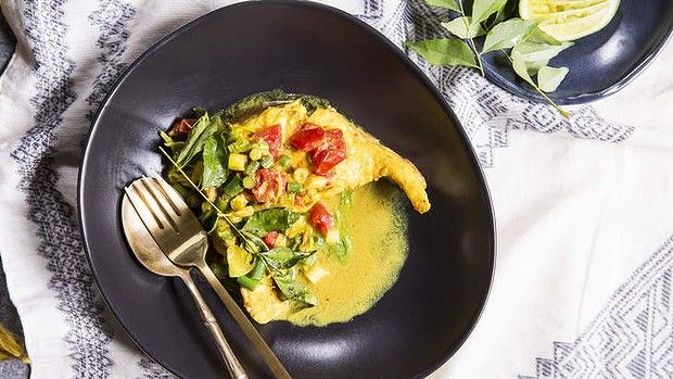 Fish curry with fresh turmeric and ginger.