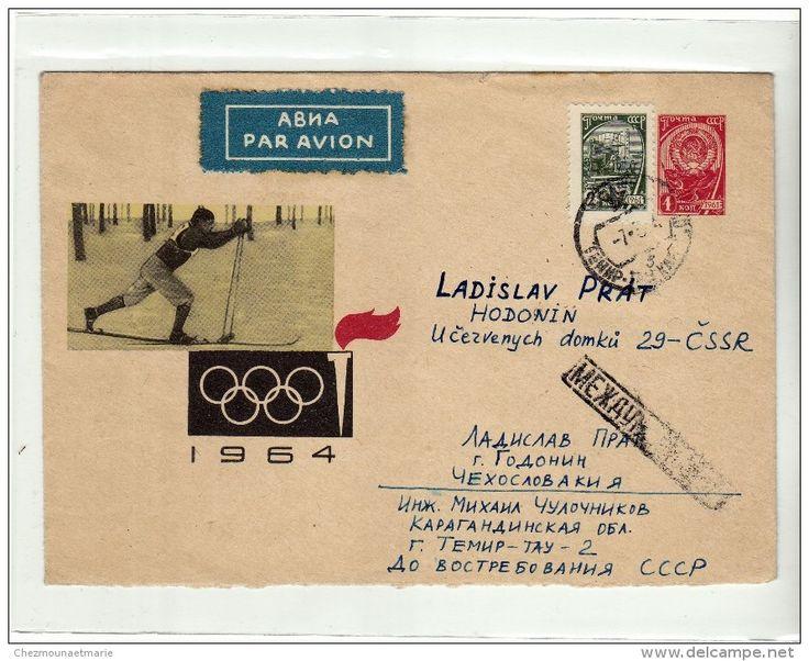 URSS - JEUX OLYMPIQUES - 1964 - ENTIER POSTAL AVEC COMPLEMENT D AFFRANCHISSEMENT - PAR AVION - SUR ENVELOPPE