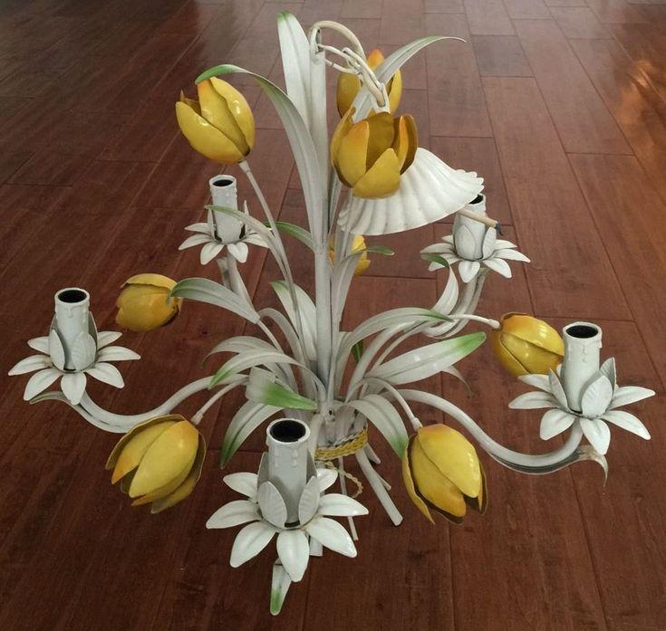 Vintage Metal Yellow Tulip Toleware Flower Italy Chandelier Lamp Floral Light Chandelier Lamp