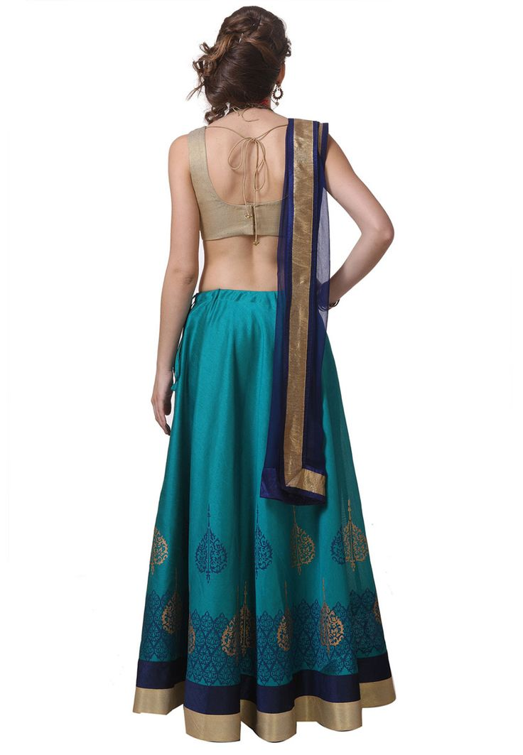 Turquoise Art Silk Readymade Lehenga Choli with Dupatta: LQN73
