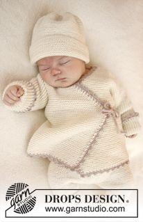"""Casaco cache-cœur DROPS em ponto jarreteira com orla em croché, em """"Baby Merino"""". Tamanhos prematuro a 4 anos. ~ DROPS Design"""