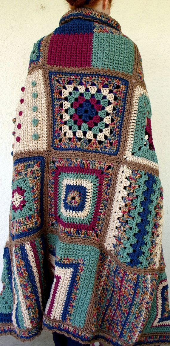 Crocheted granny square afghan lap throw by lovinghandscrochet