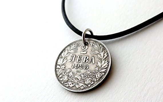 Bulgarian necklace Coin necklace Leather necklace by CoinStories
