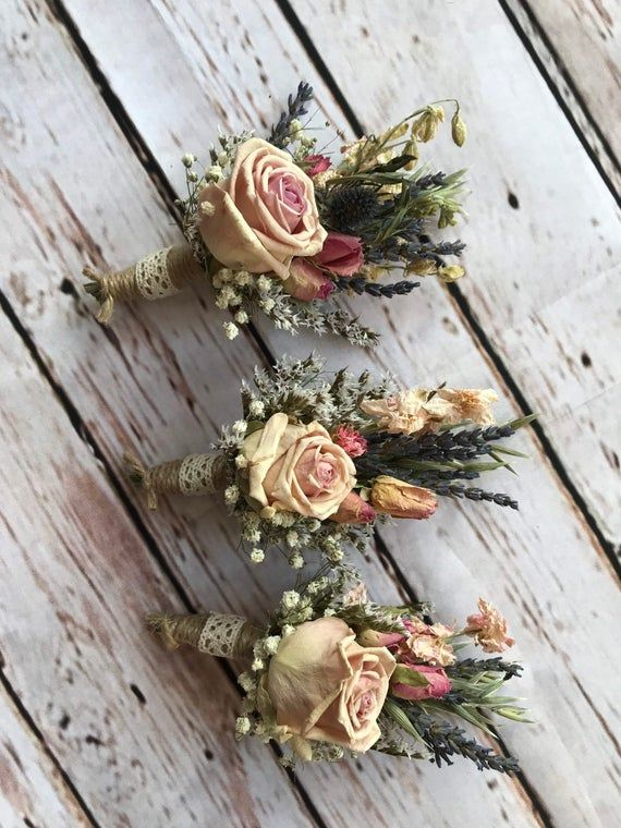 Dried Flower Buttonholes Made From Preserved Roses Natural