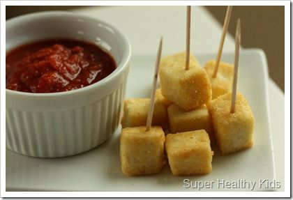 Tofu three ways (kid friendly); in a smoothie, crispy breaded with marinara dipping sauce and served with pesto pasta.