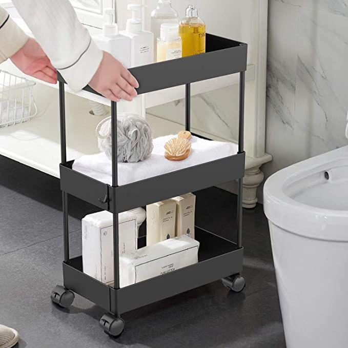 Amazon Com Aojia Slim Storage Cart 3 Tier Bathroom Organizers Slide Out Storage Shelves Mobile Shelving U In 2020 Mobile Shelving Bathroom Storage Boxes Storage Cart