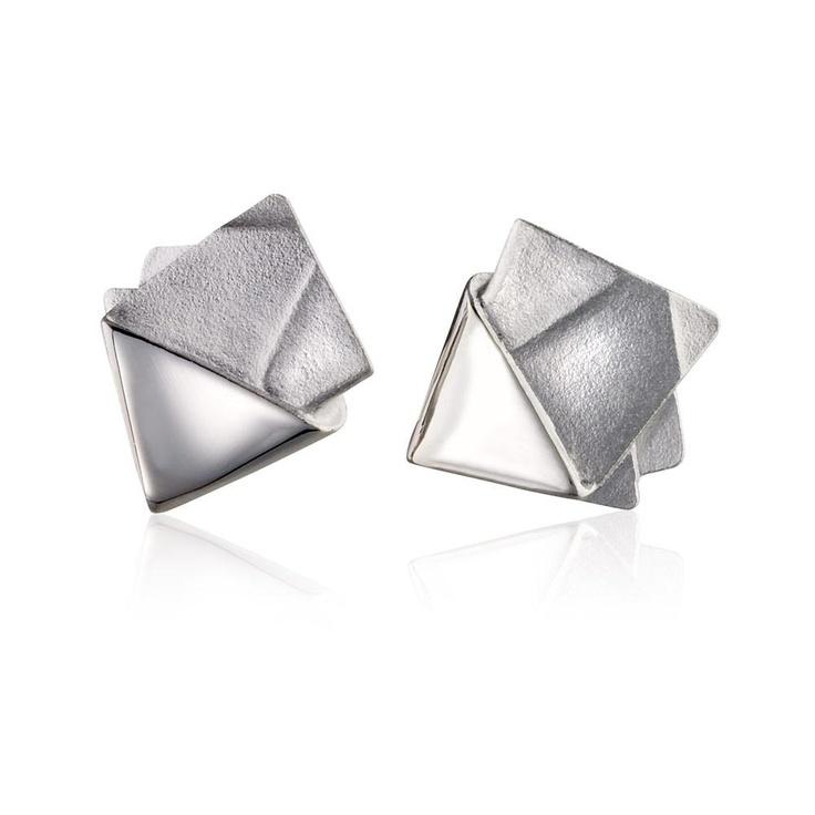 ORIGAMI 84  Design Zoltan Popovits / Silver Earrings / Lapponia Jewelry / Handmade in Helsinki