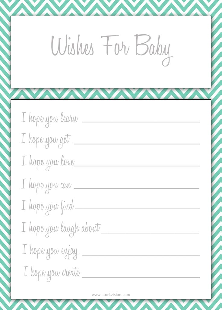 Wishes for Baby Printable in three colors.
