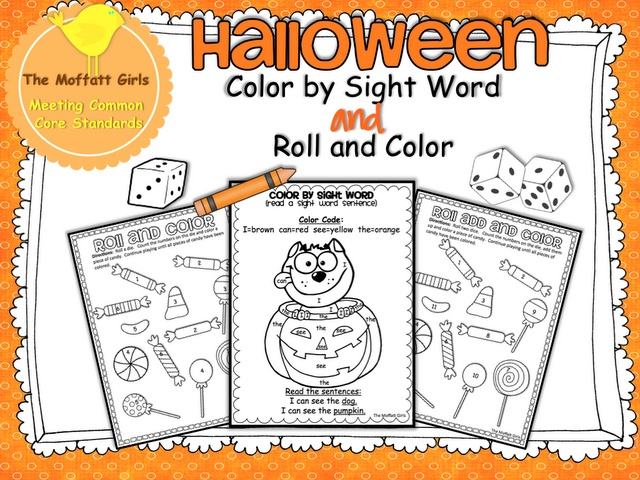 Halloween Pack Color by Sight Word and 2 Roll Add and