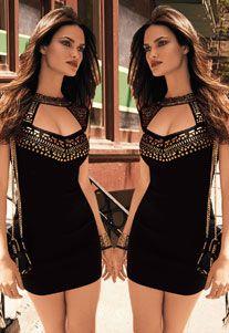 Göğüs Dekolteli Likralı Siyah Esnek Mini Elbise