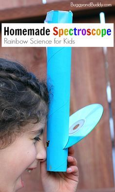 STEAM / STEM : Rainbow Science for Kids: Homemade Spectroscope using a paper towel roll (cardboard tube) and a CD- Such a fun way to children to explore light! ~ BuggyandBuddy.com